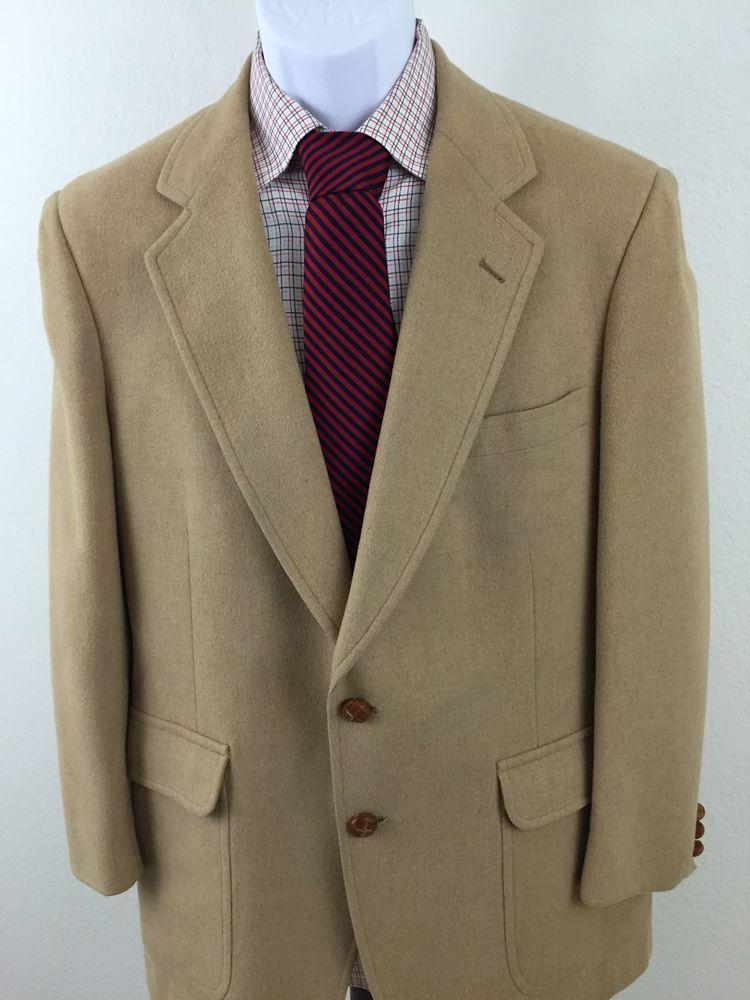 Men's Elegant Jos A Bank Executive Collection 40R Blazer 100% Camel Hair Beige #JosABank #TwoButton