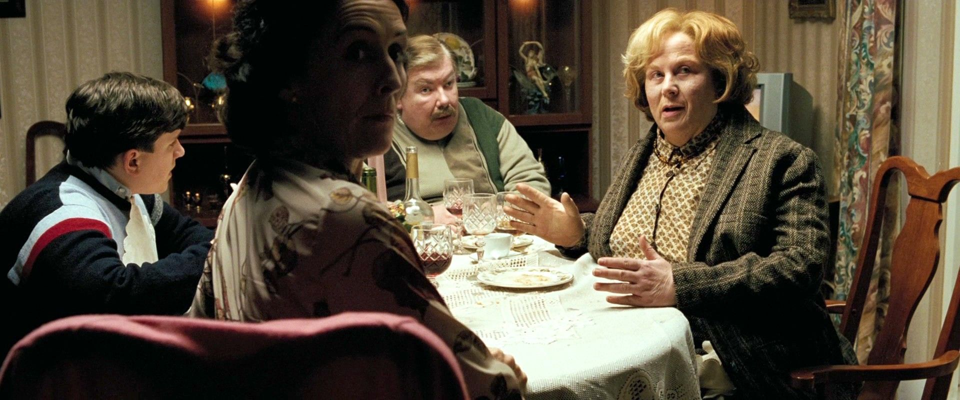 Marge Dursley (Pam Ferris) is Vernon's sister, who is similarly neckless  and unattractive. Harry has always had to refer to her as 'Aunt,' and takes  solace in t…