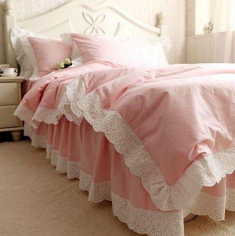 Blanco volantes de encaje juego de cama de lujo, doble completo ...