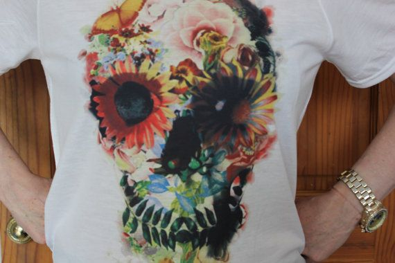 SKULL Flowers design T-shirt by AppleCandyDream on Etsy