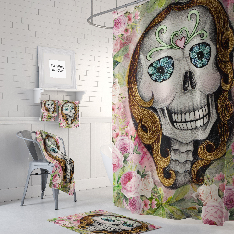 Sugar Skull Shower Curtain Bath Towels Bath Mat Lady N Roses Sugar Skull Shower Curtain Skull Shower Curtain