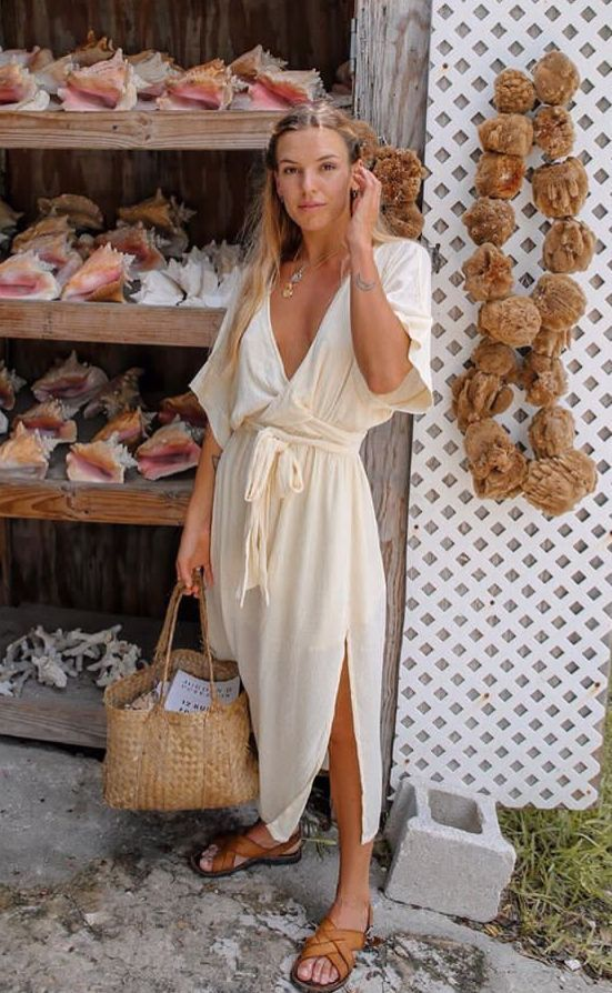Gorgeous white linen dress amongst the the market 10