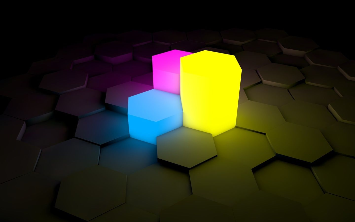 1440x900 Blue Yellow Purple 3d Hex Wallpapers And Pictures Neon Wallpaper Hexagon Wallpaper Wallpaper Pc