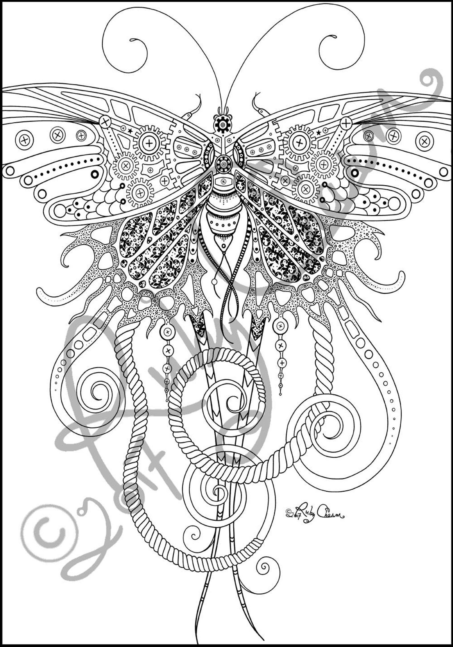 Pin On Steampunk Adult Coloring Books Pages [ 2269 x 1588 Pixel ]