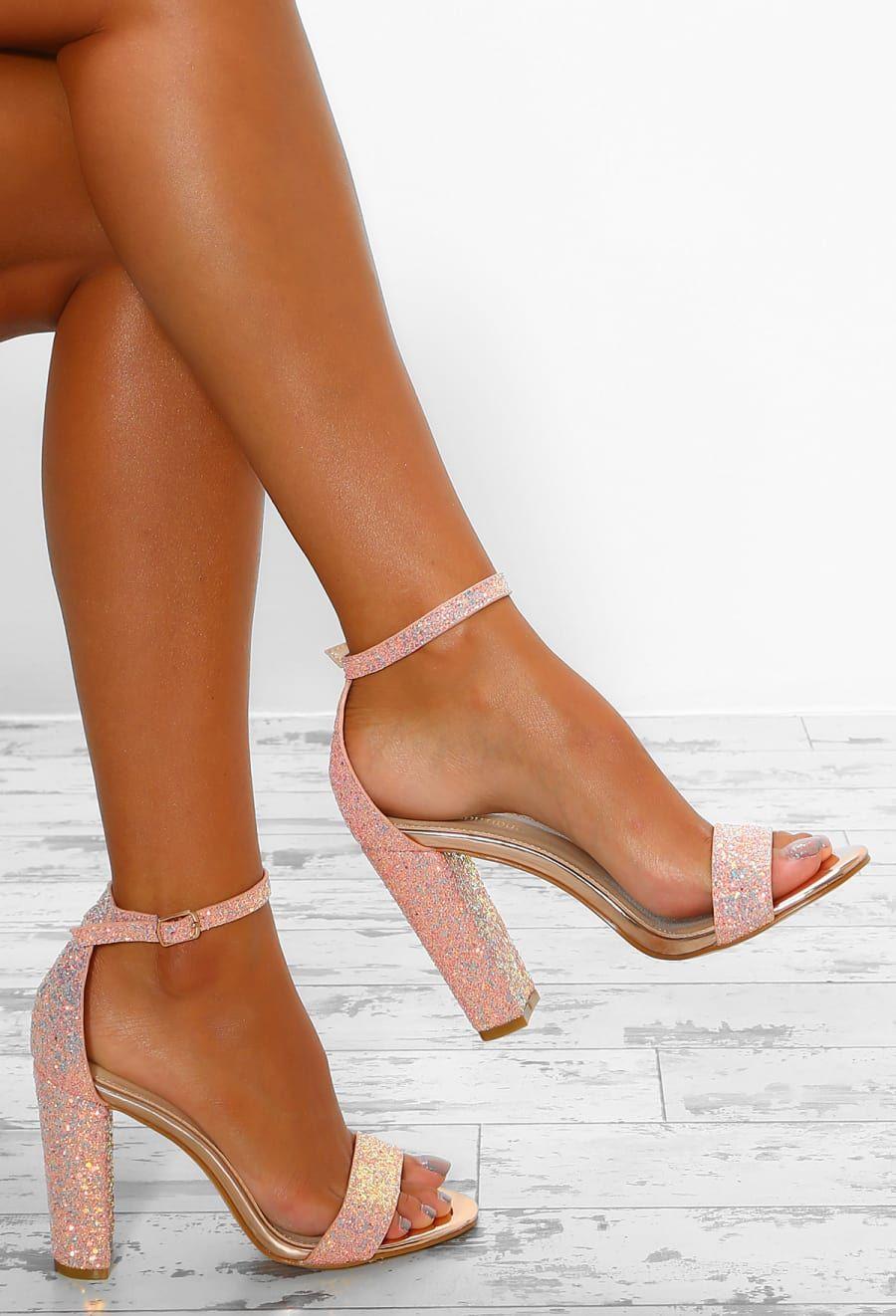 a1769ff915a That Spark Rose Gold Iridescent Glitter Block Heels - UK 3 in 2019 ...