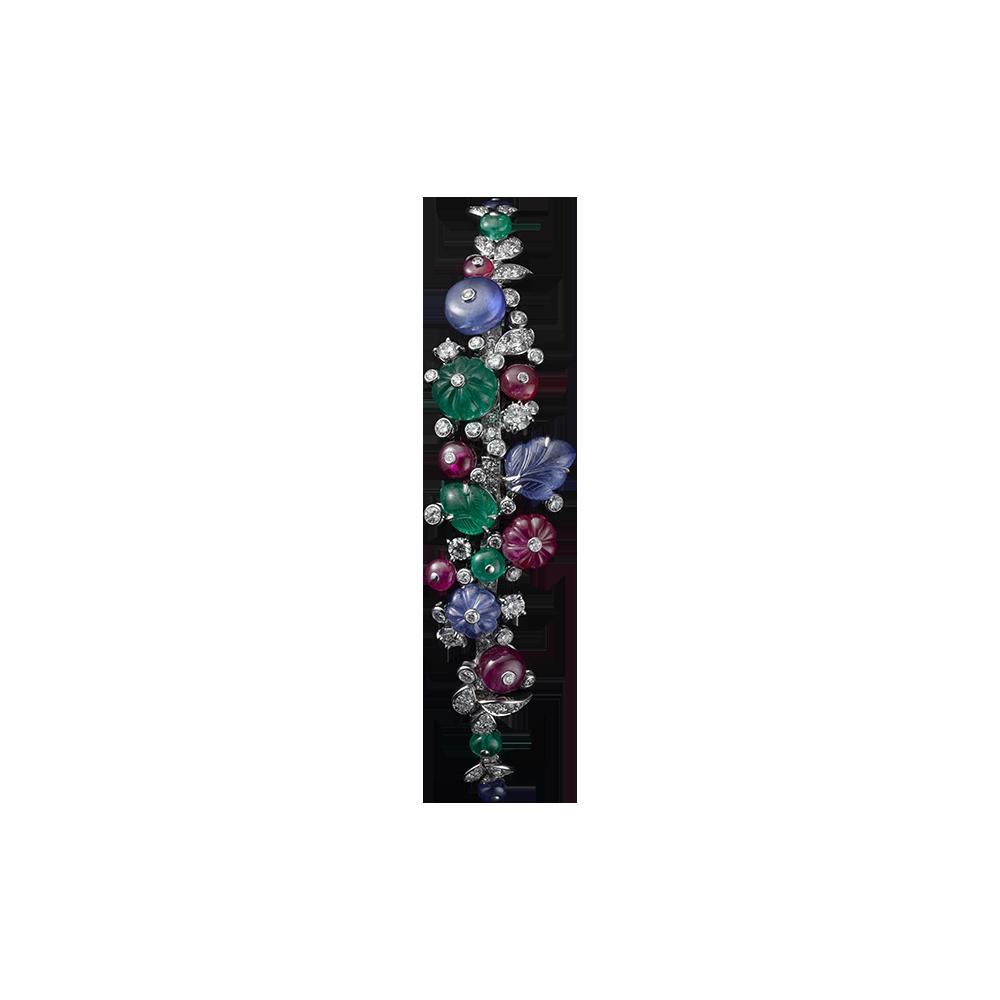 High Jewelry bracelet Platinum, sapphire, ruby and emerald