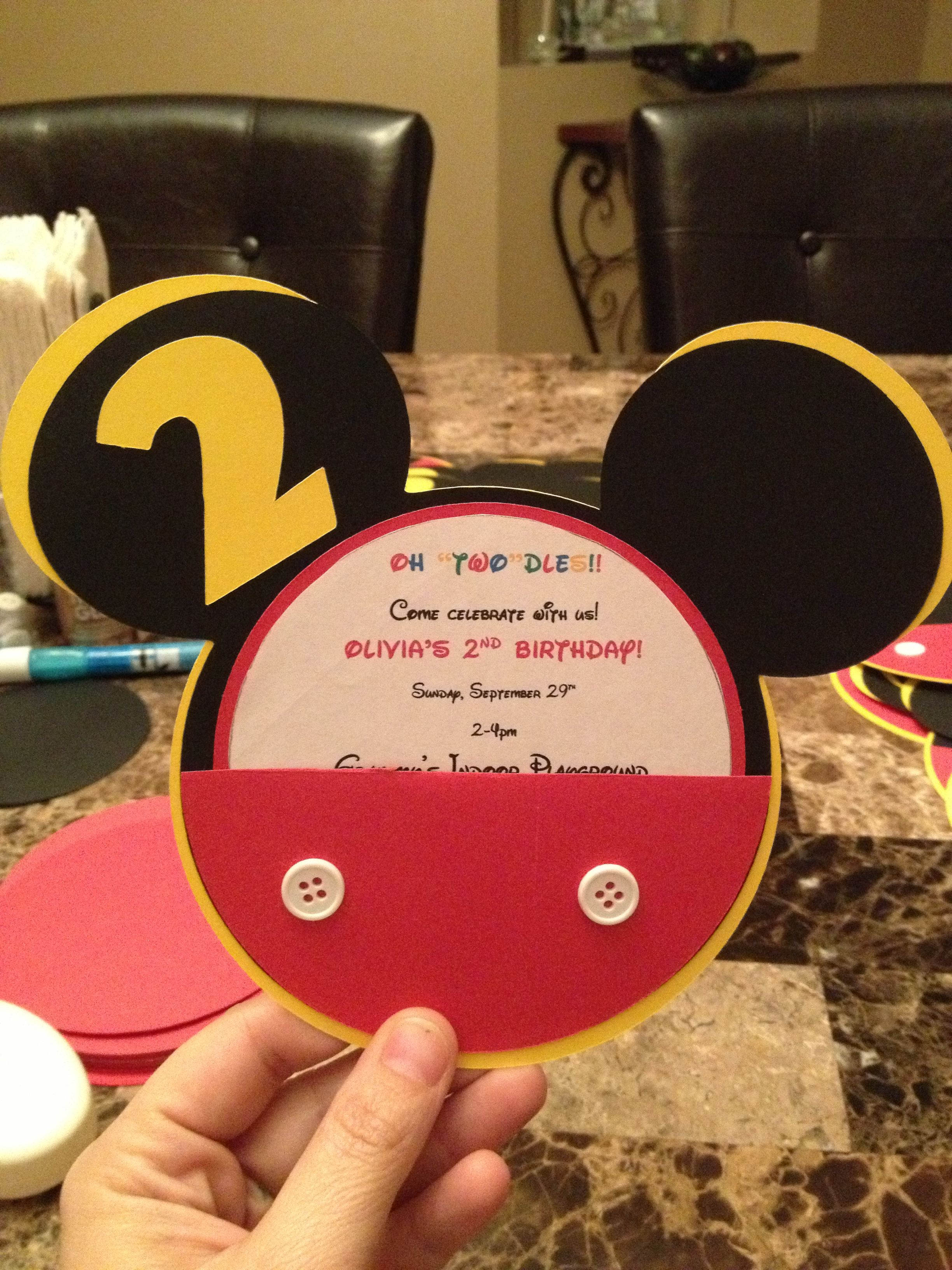 Mickey Mouse birthday invitations | I made this! | Pinterest ...