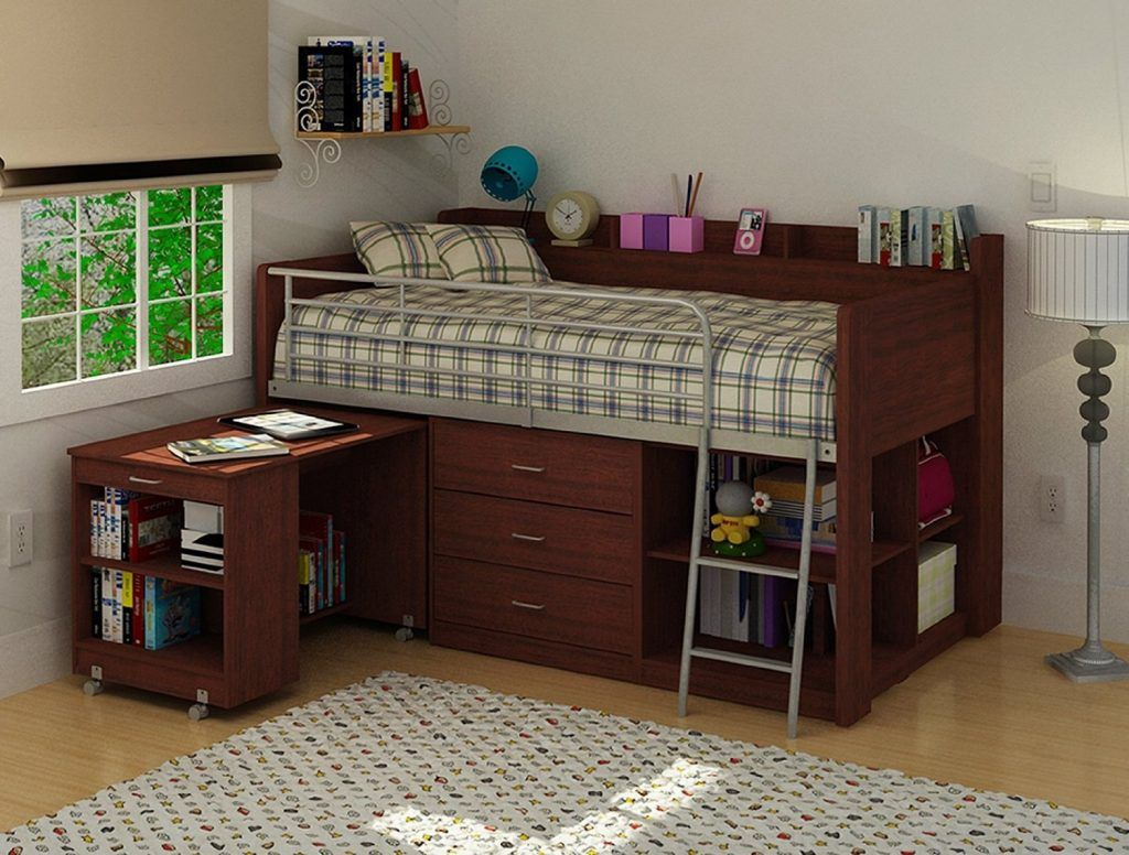 Low loft bed with desk and storage  Family Room Designs Decorating Ideas For Family Rooms  Nice bed