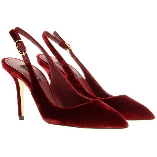 Dolce&Gabbana Slingback Velluto Bellucci Red in red, Pumps (6 340 UAH) ❤ liked on Polyvore featuring shoes, pumps, heels, red, strappy pumps, red stiletto pumps, high heel slingbacks, sling back pumps and pointy-toe pumps