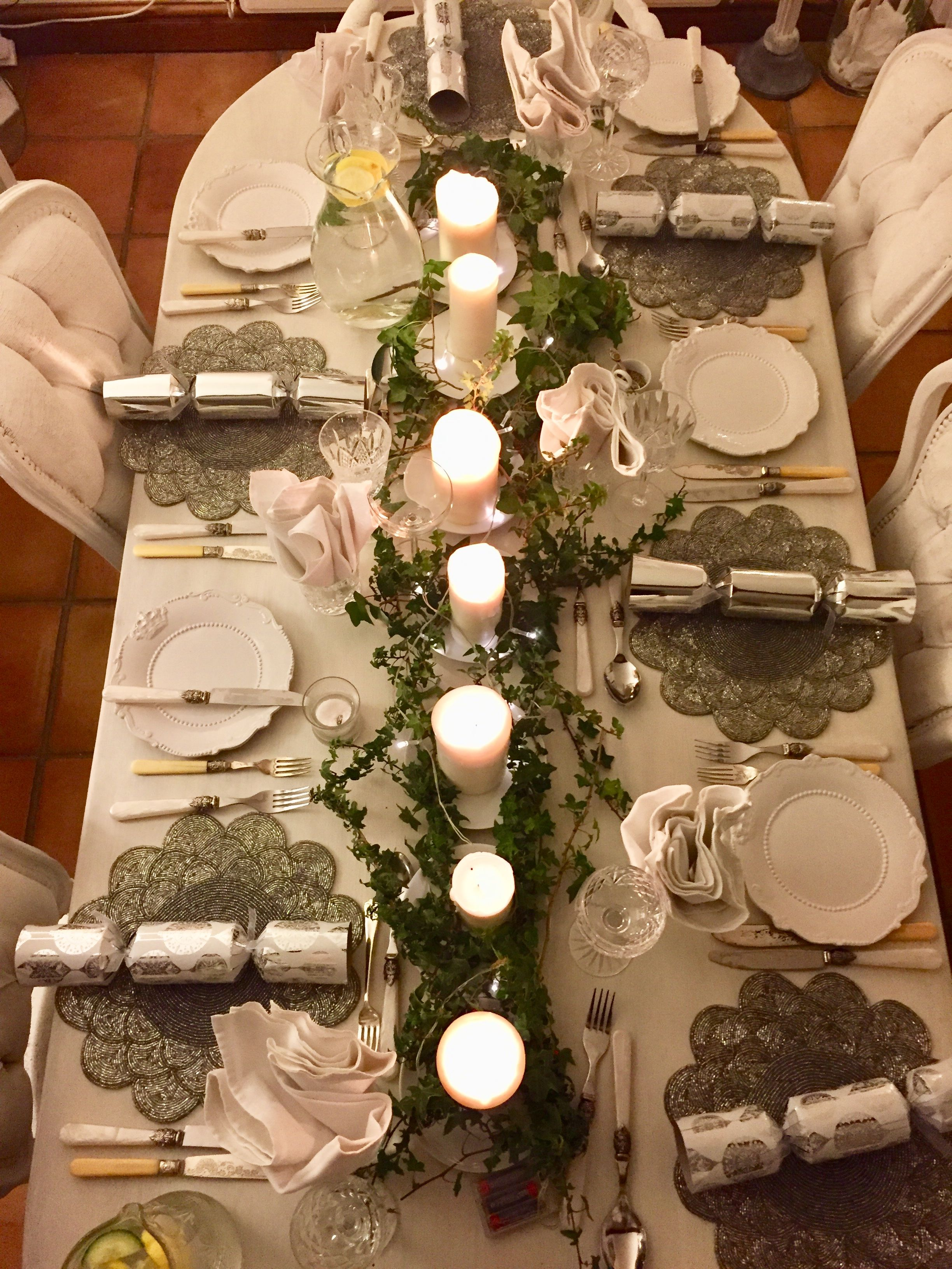 Silver And Candles Creates Understated Christmas Table By Www Anyabankschristmasdecorato Table Decorations Christmas Tablescapes Christmas Holidays
