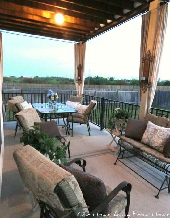 our home away from home no sew canvas drop cloth outdoor curtains patio and outdoor spaces. Black Bedroom Furniture Sets. Home Design Ideas