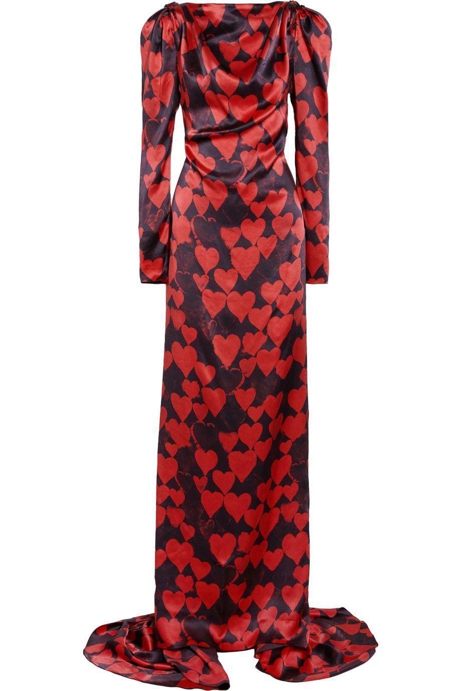 Lanvin Heart-print silk-satin gown NET-A-PORTER.COM
