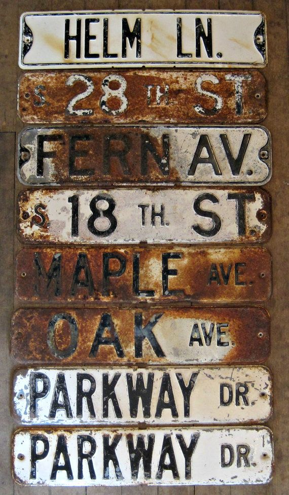 Old Street Sign. Industrial decor magnet boards. Vintage City salvage. Urban decor. Rustic decor. OLD STEEL signs.