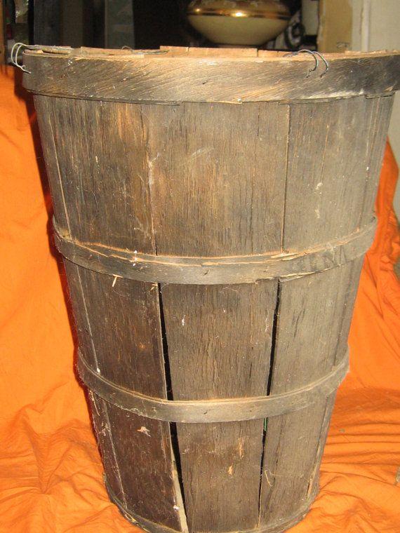 Vintage Tall Wooden Slat Bushel Basket By Linsvintageboutique