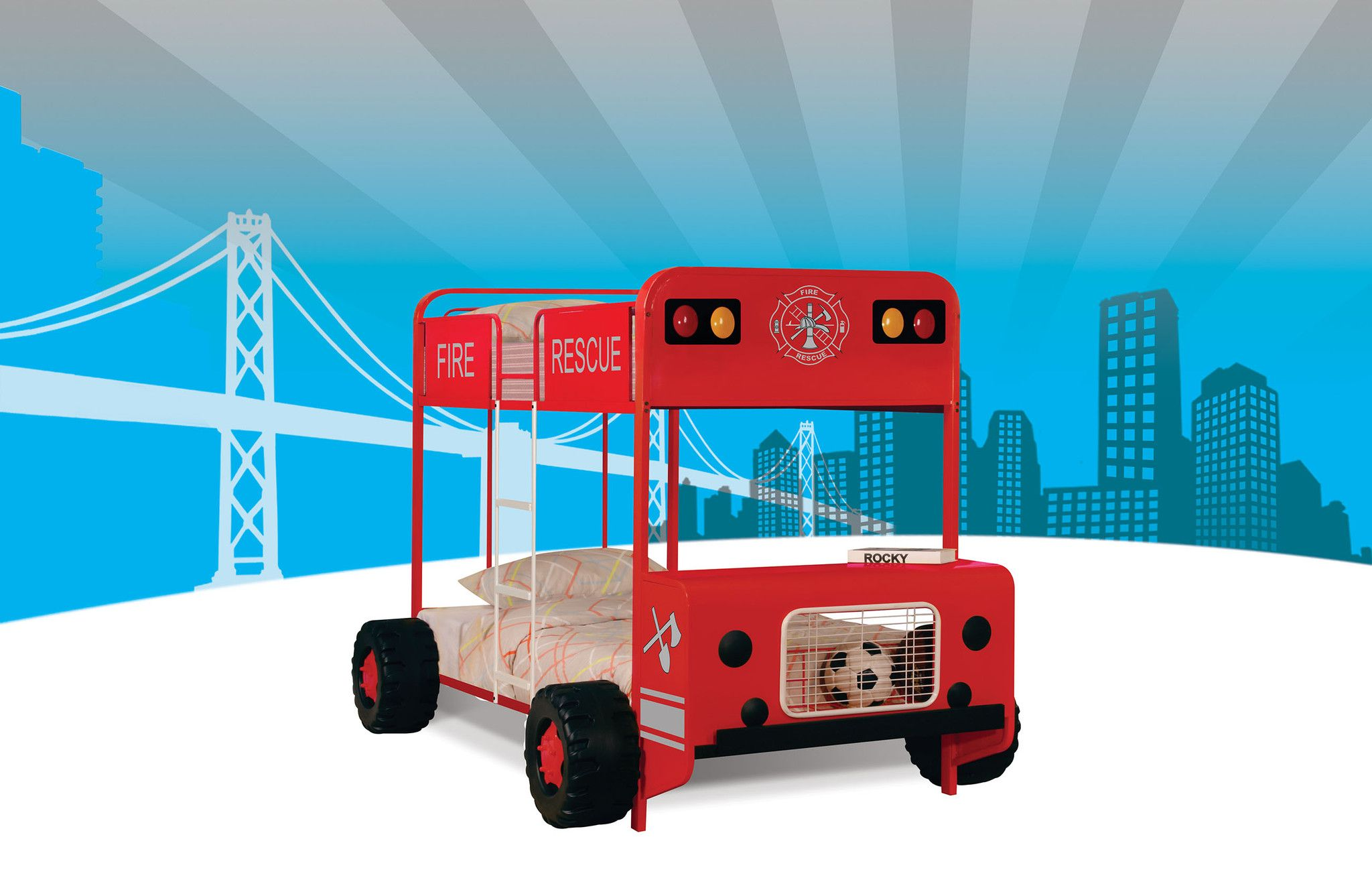 Fire truck loft bed with slide  Jackson RedBlack Twin Twin Bunk Bed   DIY Beds  Pinterest