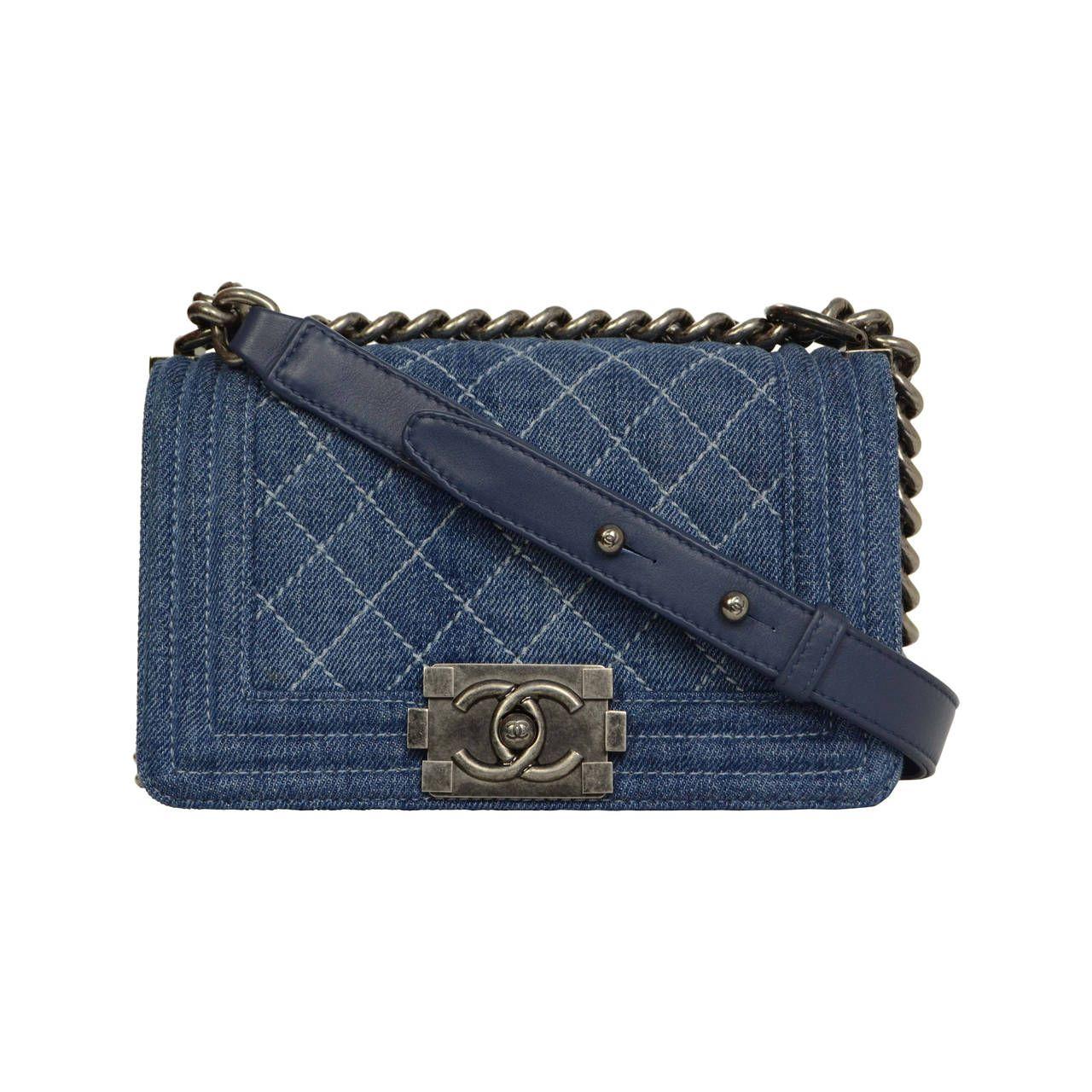 Chanel handbag superb vintage chanel bag vintage leather - Fashion 2000 2020 Chanel Blue Denim Mini Boy Bag Shw From A Collection