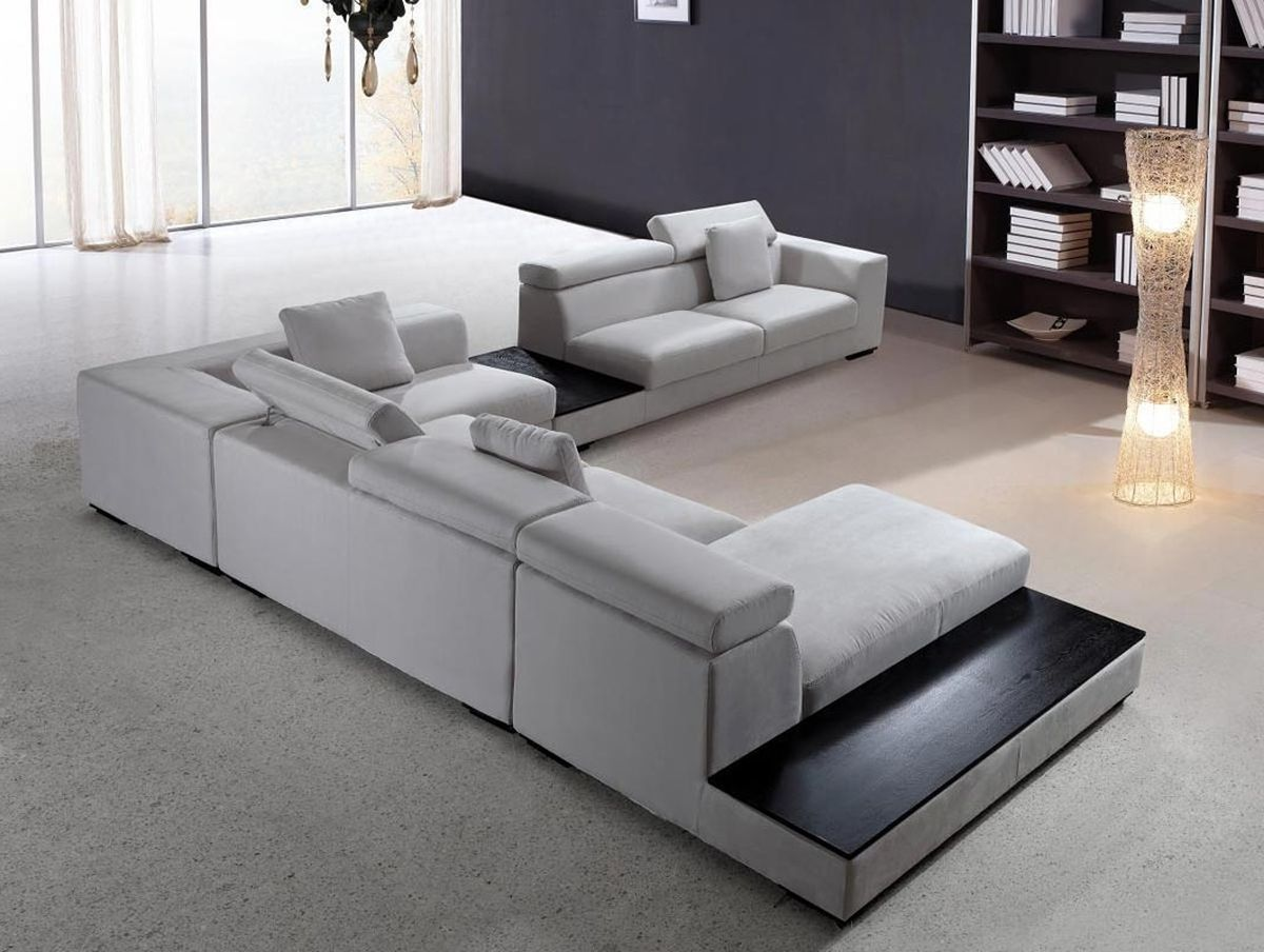 Modern Sectional Sofa Grey Microfiber Vg Fort 16 In 2020 Grey