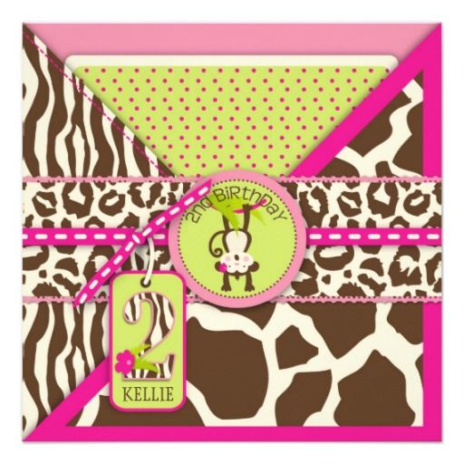 Pink Safari Jungle Monkey Second Birthday Personalized Invites
