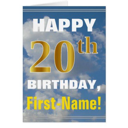 Bold Cloudy Sky Faux Gold 20th Birthday Name Card Birthday