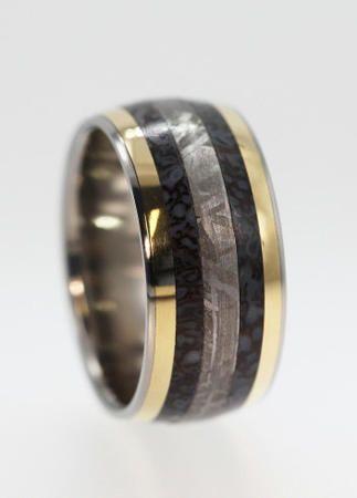 Deer antler meteorite ring wedding