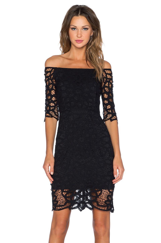 Black Tie/ Off the Shoulder Dress/ Black Lace/ Cocktail Dress SAYLOR ...