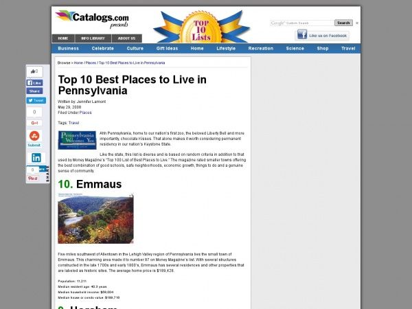 Top 10 Best Places to live in Pennsylvania