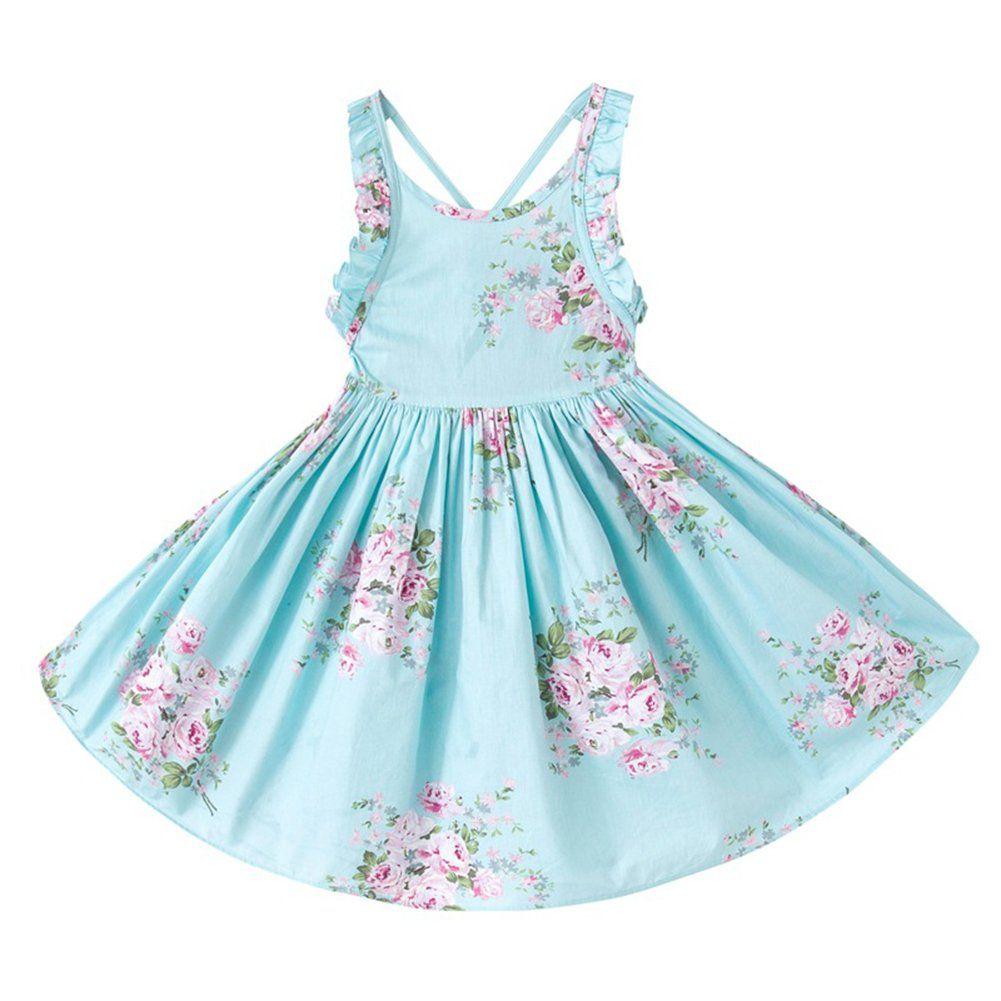 Arbag Summer Girl Bandage Backless Party Dress Sweet Floral Print ...