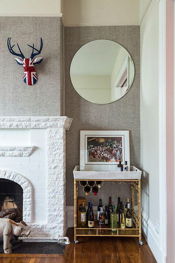 Designer Gallery Grasscloth Wallpaper Natural: Chevron Wallpaper In Eclectic Living Room