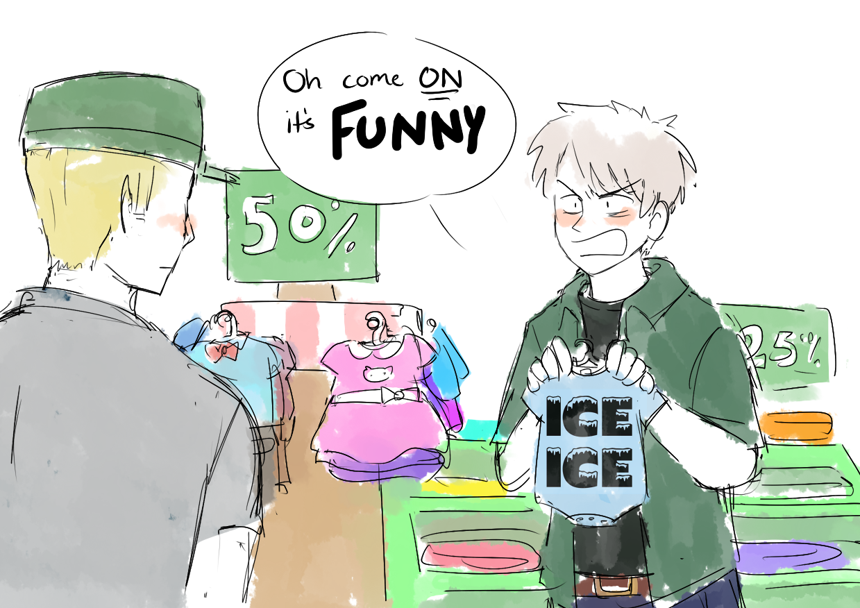 Germany and Prussia shopping for GerIta's baby clothes. Or maybe PruHun's or whatever.