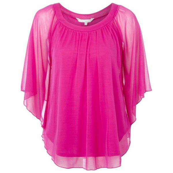 08e781b73cf31 Bright pink mesh gypsy top ($25) found on Polyvore featuring tops, shirts,  women's tops, women+tops, drape top, pink top, gypsy shirt, red herring and  pink ...