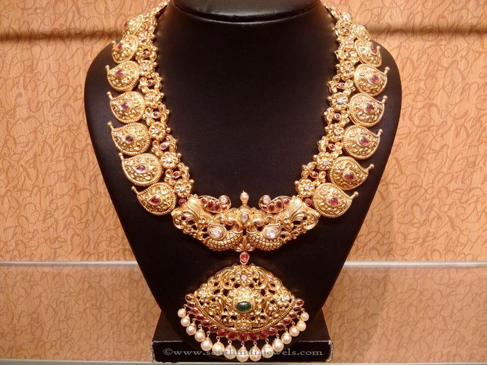 Grand Gold Bridal Antique Mango Mala | Necklace designs, Gold and Big