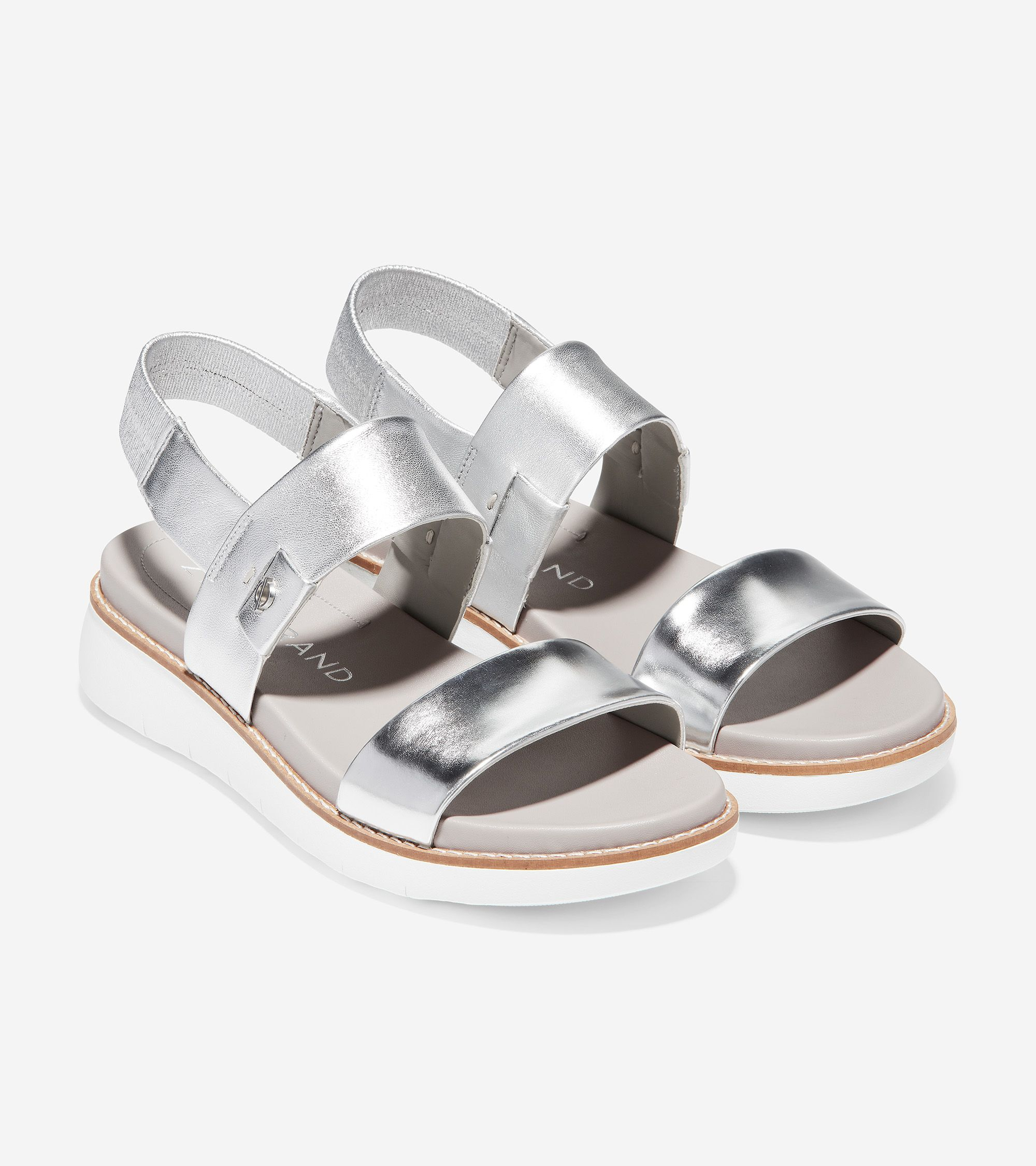 Women S Zerogrand Global Double Band Sandal In Argento Specchio In 2020 Double Band Sandals Double Band Sandals