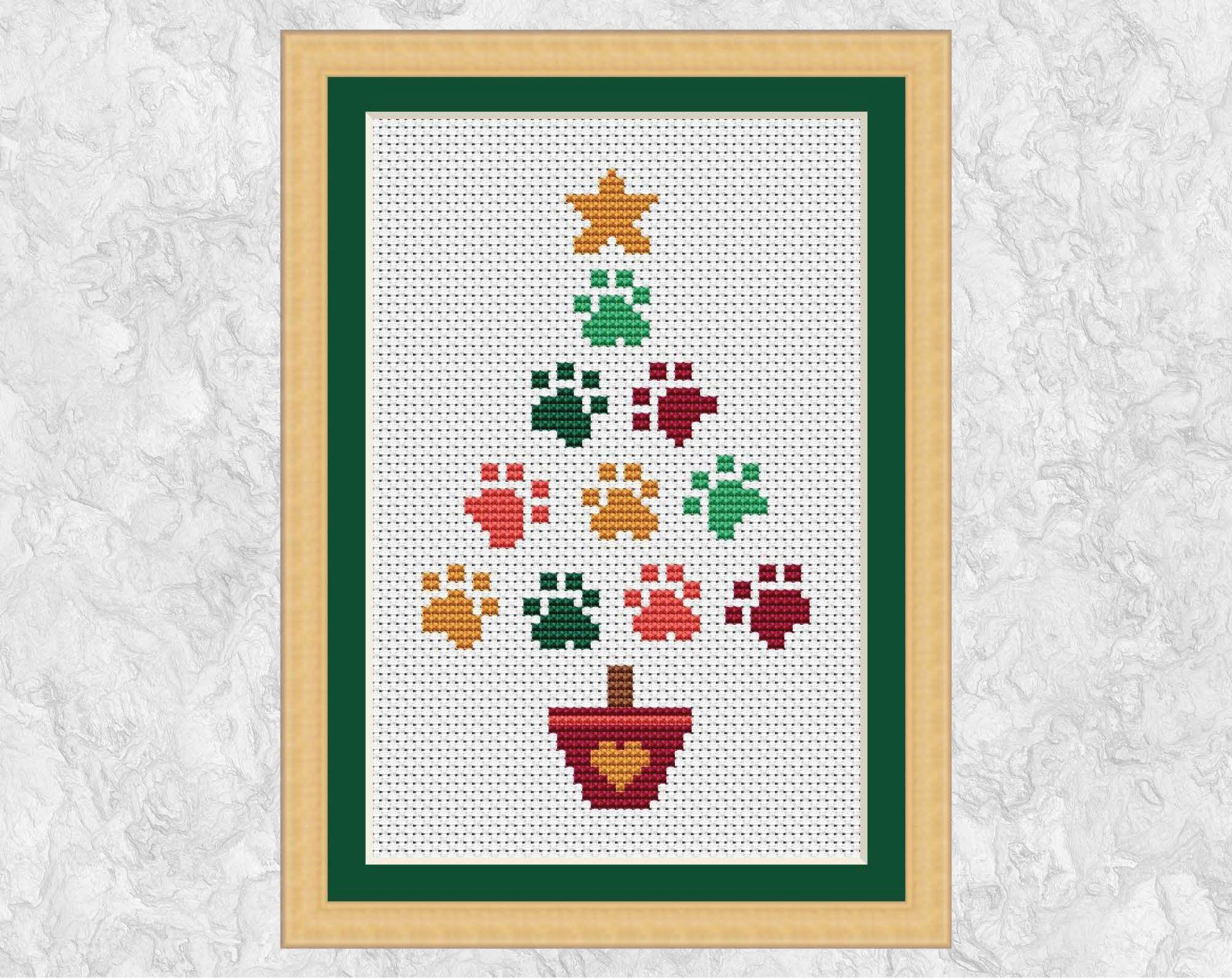 Christmas card cross stitch pattern Paw Print Christmas Tree