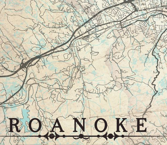 ROANOKE VA Canvas Print Virginia va Vintage City map Horizontal Wall