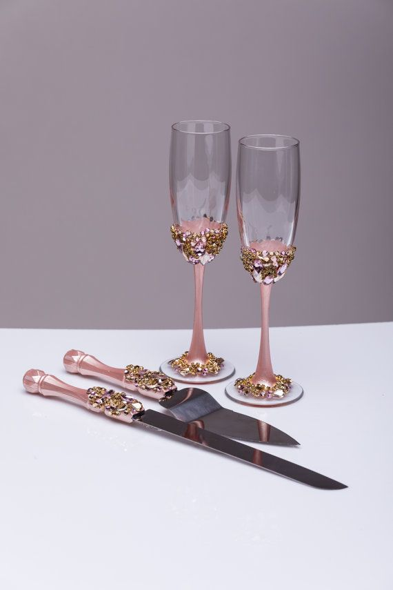 Gold Wedding Glasses And Cake Server Set Knife Blush Cutting Toasting Flutes Champagne Of 4