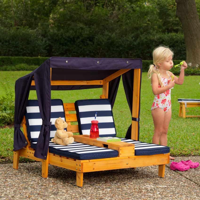 double chaise longue enfant avec porte gobelets pour lextrieur - Table Jardin Bois Enfant