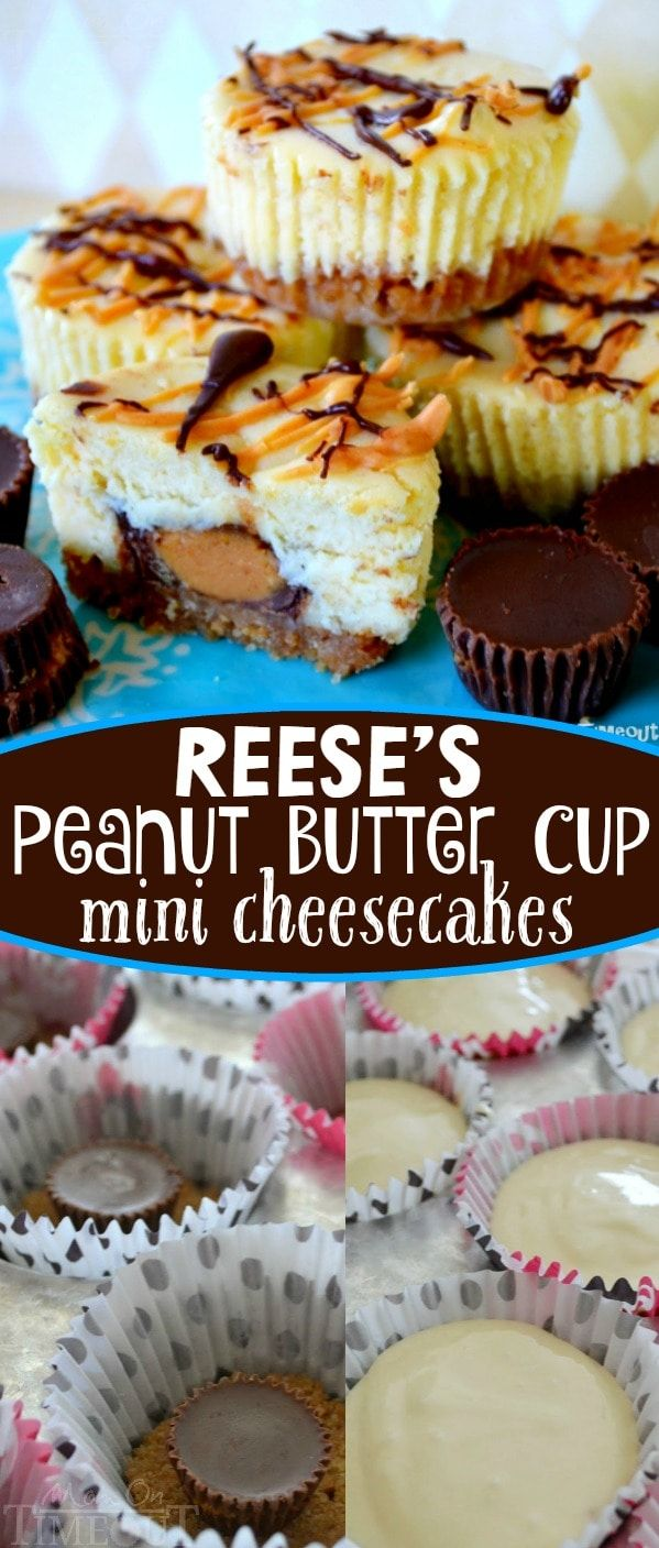 Reese's Peanut Butter Cup Mini Cheesecakes are sure to be a new favorite! Reese's Peanut Butter Cups are enveloped in a rich, luscious mini cheesecake and drizzled with chocolate and peanut butter. An amazing recipe and one of the most frequently requested in our home. Perfect for potlucks, picnics, and parties! Easy and delicious! // Mom On Timeout #Reeses #cheesecake #peanutbutter #dessert #peanutbuttercups #peanutbuttercup #sweets #mini #recipe #recipes #easy #cheesecakes