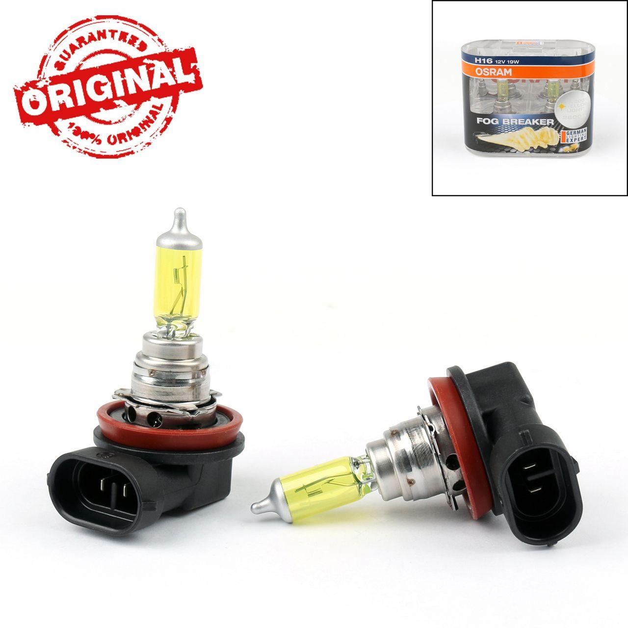 2 X Osram Fog Breaker Globes H16 2600k 62219fbr Yellow Car Fog Light