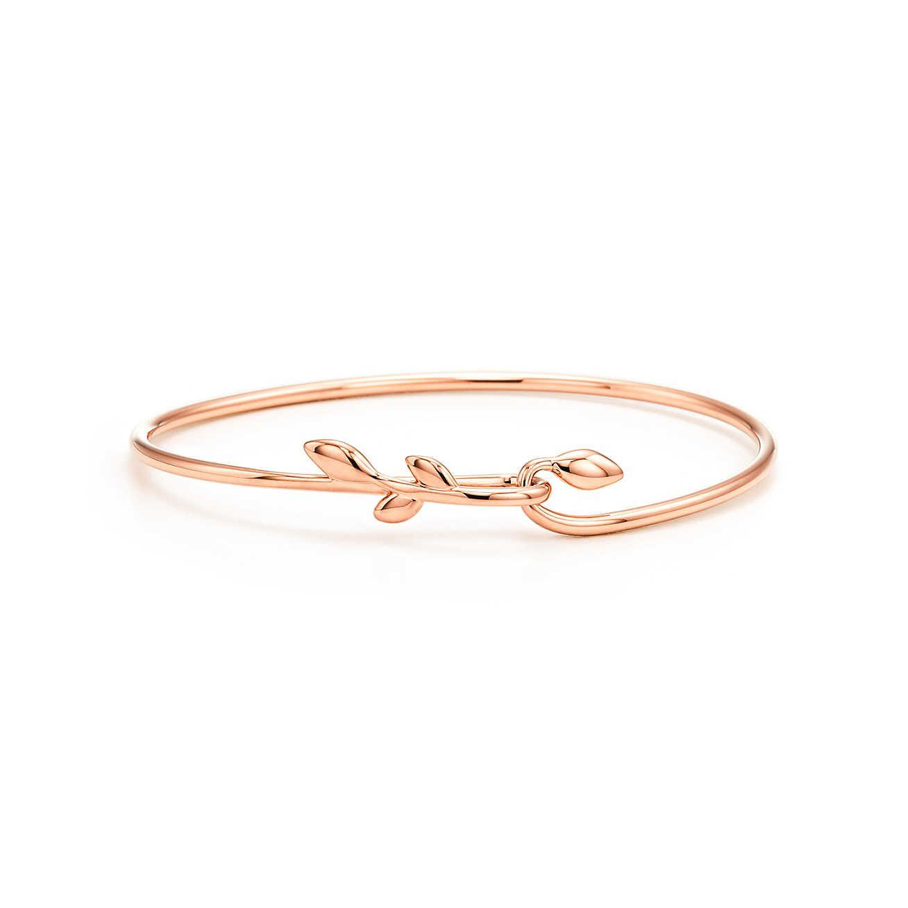 1855c6346 Paloma Picasso® Olive Leaf hook bangle in 18k rose gold, medium. | Tiffany  & Co.