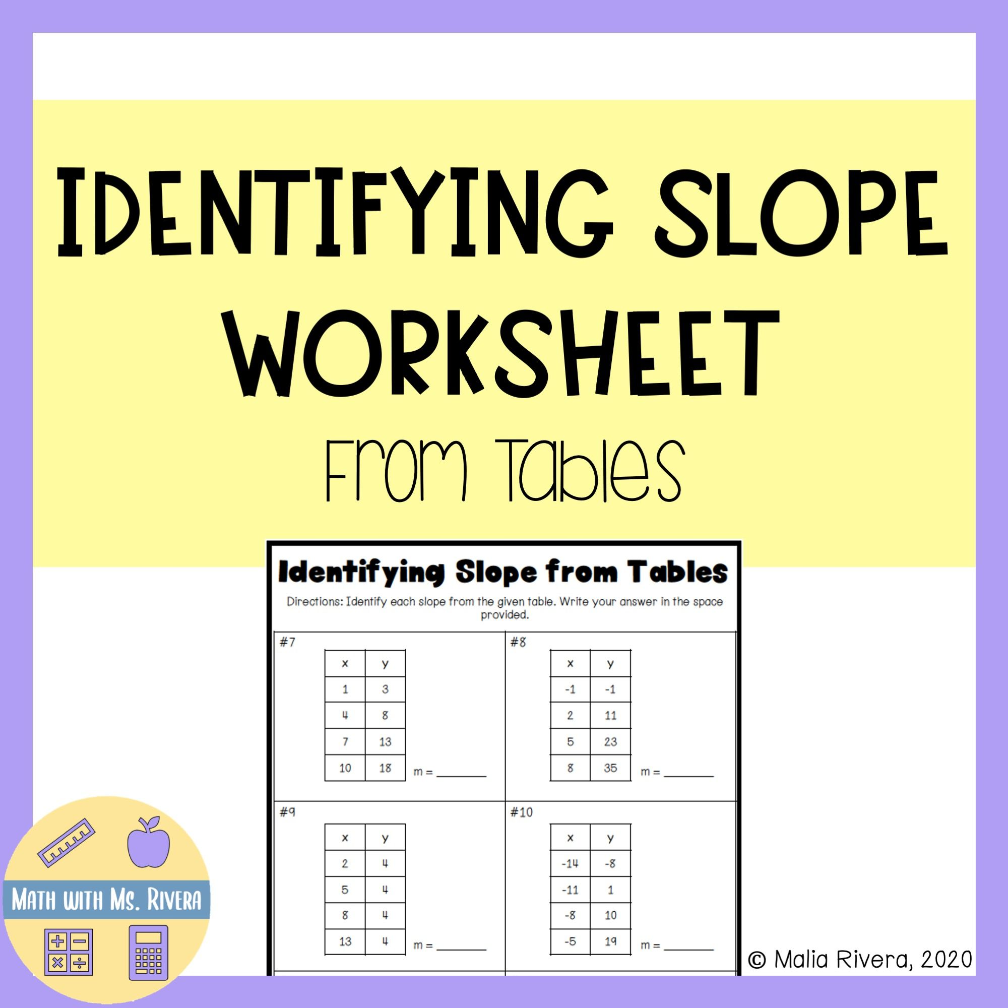 Identifying Slope from Tables Worksheet   Math practice worksheets [ 2000 x 2000 Pixel ]