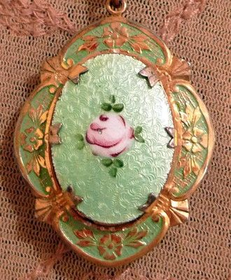 Vintage guilloche enamel locket necklace pale aqua pink rose Art Deco Victorian