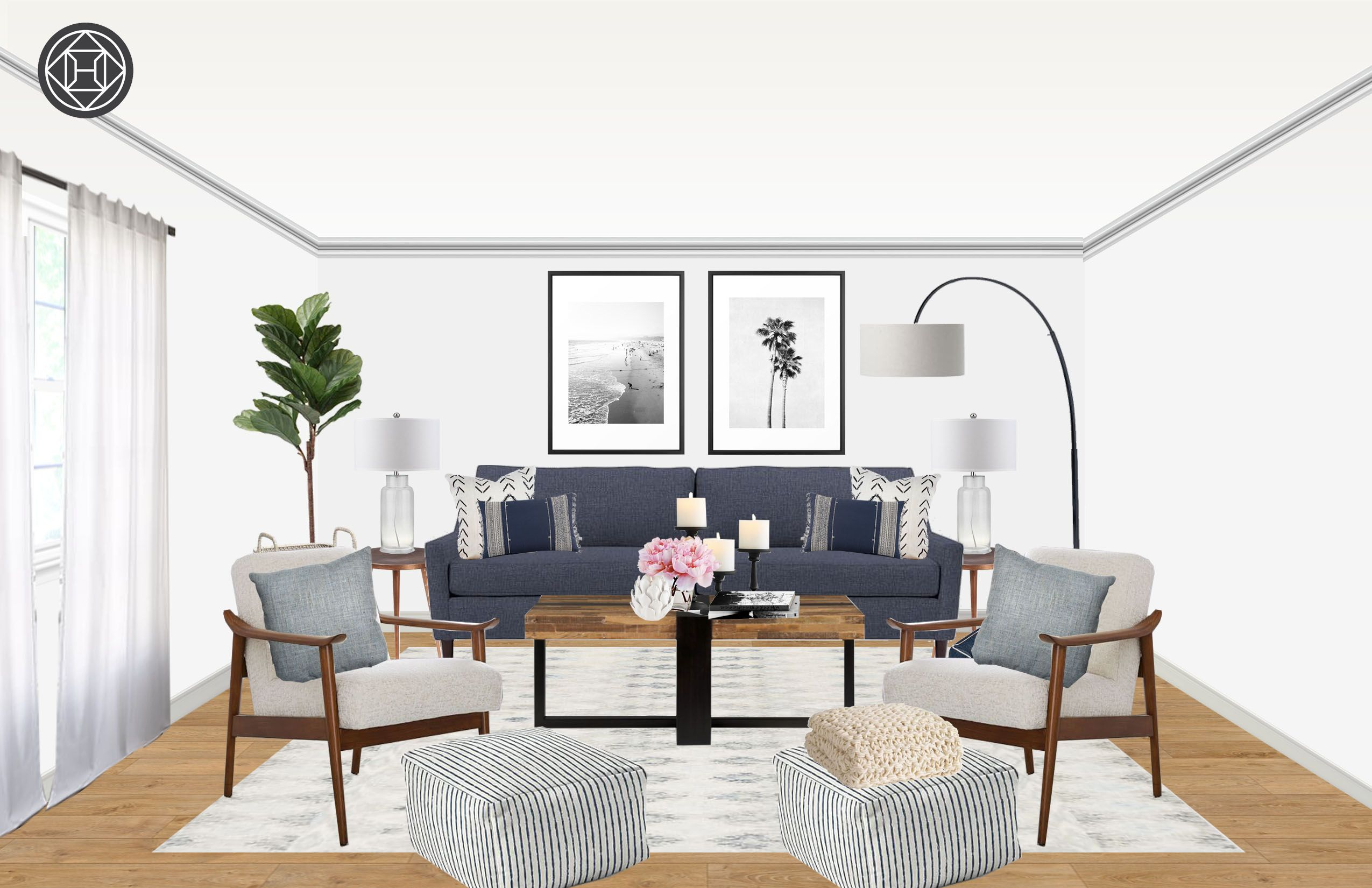 Contemporary, Eclectic, Midcentury Modern Living Room By Havenly
