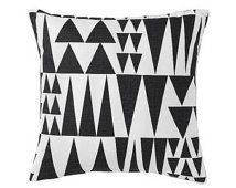 Contemporary Scandinavian Cushion made from Spira of Sweden Fabric - Jazz Black - Black and white triangles pattern.