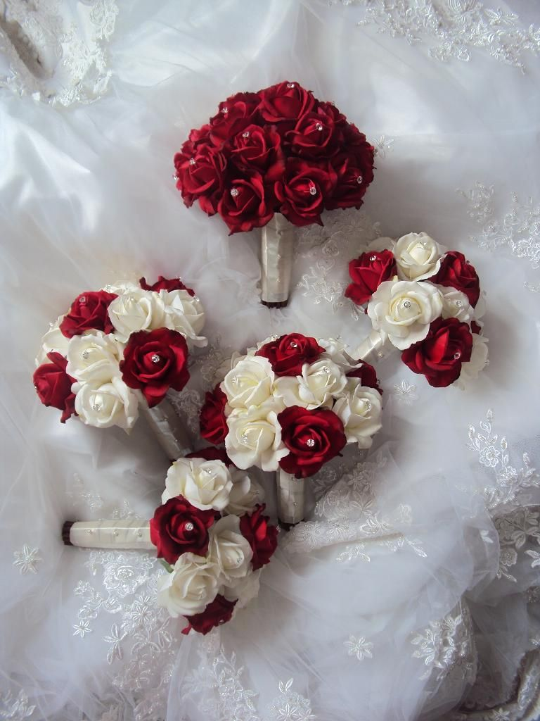 Real Touch Red And Ivory Roses Wedding Bouquets Flower Set By Treasured Moments Flowers
