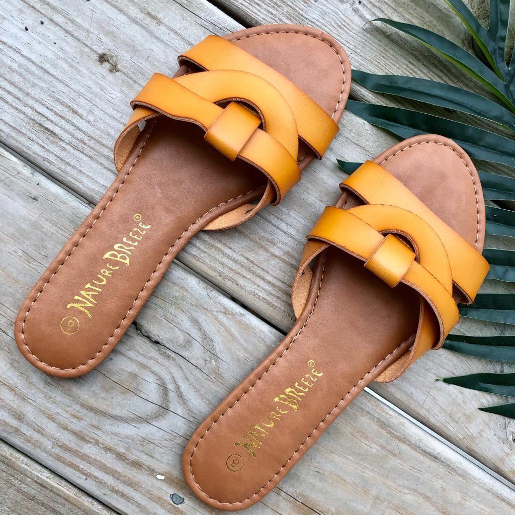 Mustard Flat Sandals   Color: Tan