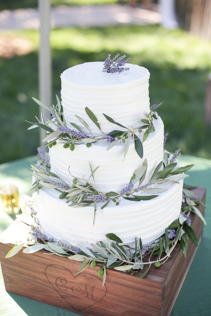 Lavender and Olive Leaf Wedding Cake | JULIE CAHILL PHOTOGRAPHY ...