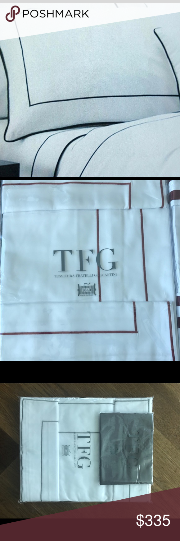 Linens made  in Italy 100 % cotton saten 300 TC Set Milano Collection 1 Fitted 1 Duvet 2 shams tfg Italy Other
