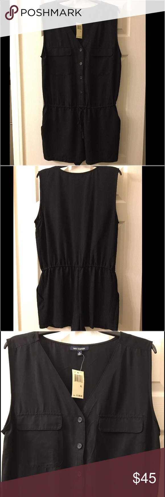 Max Edition Romper Black sleeveless romper with front and side pockets. Max Edition Other