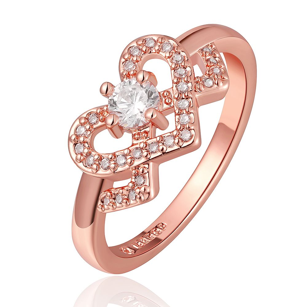 Tuker Design Inlaid Drill Heart shaped Zircon Elegant Wedding Rings ...
