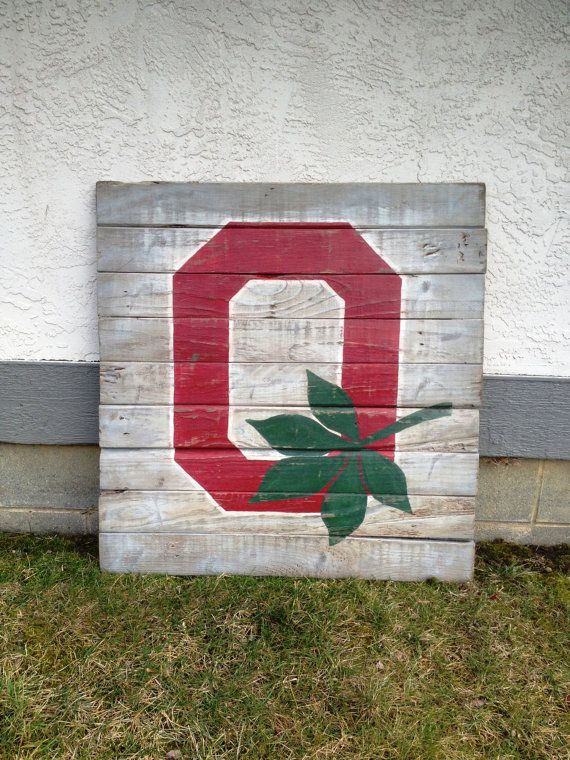 Ohio State Block O Wood Sign / Buckeye Wall Art By PalletsandPaint Part 33